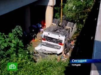 Место аварии автобуса в Турции. Кадр телеканала НТВ