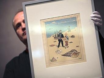 Проданный на аукционе комикс о Тантане. Фото ©AP