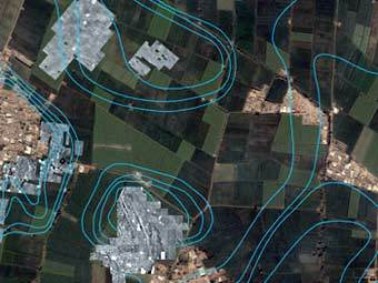 Фрагмент карты-схемы Авариса, наложенной на спутниковый снимок. Изображение авторов исследования