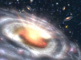 Квазар глазами художника. Изображение NASA/JPL-Caltech
