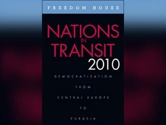 """Обложка доклада """"Государства переходном состоянии"""" с сайта Freedom House"""