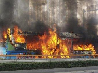 В Китае сгорел автобус с пассажирами