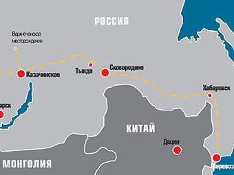 """Фрагмент схемы трубопровода ВСТО с сайта  """"Транснефти """" ."""
