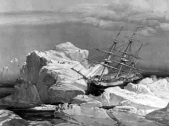 """""""Инвестигейтор"""" во льдах, рисунок 1851 года"""