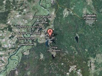 Выкса на спутниковом снимке Нижегородской области. Изображение сервиса Google Maps