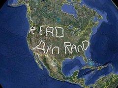Книги Айн Рэнд прорекламировали надписью размером с США