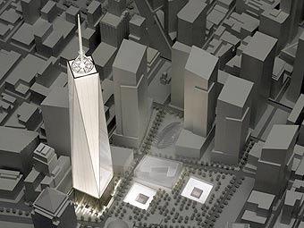 Проект застройки Ground Zero. Иллюстрация с сайта skyscraperpage.com