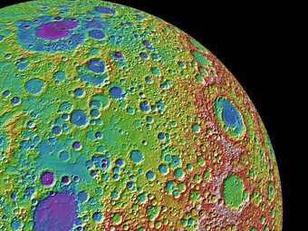 Фрагмент новой топографической карты Луны. Фото NASA\LRO
