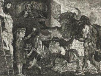 """Минотавромахия"" Пикассо, фрагмент"