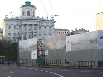 Строительные работы на Боровицкой площади. Фото
