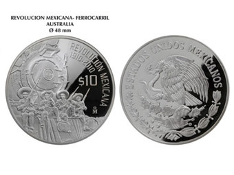Мексиканская серебрянная монета, отчеканенная в честь 100-летия Революции. Изображение с сайта shcp.gob.mx