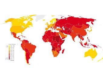 Карта коррумпированности стран. С сайта transparency.de