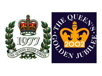 Логотипы прошлых юбилеев Елизаветы II. Изображение с сайта wikipedia.org