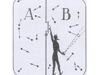 Демон Максвелла за работой. Иллюстрация пользователя Волобуев с сайта wikipedia.org