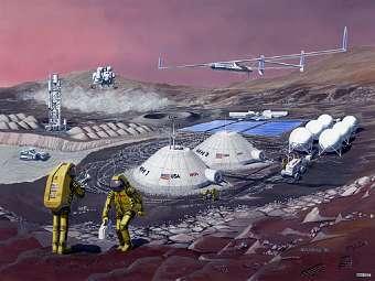 Будущая марсианская база глазами художника. Изображение NASA
