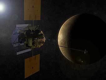 """Приближение зонда """"Мессенджер"""" к Меркурию глазами художника. Изображение NASA/JPL"""