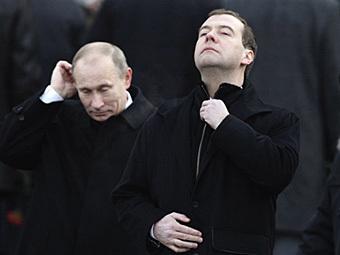 Владимир Путин и Дмитрий Медведев. Фото (с)AFP