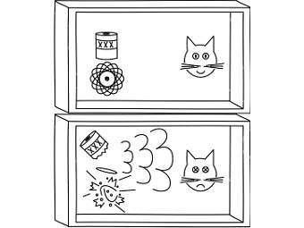 Схематическая иллюстрация принципа кота Шредингера. Изображение с сайта pitt.edu