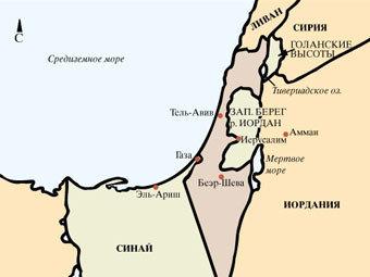 Карта Израиля после войны 1967 года
