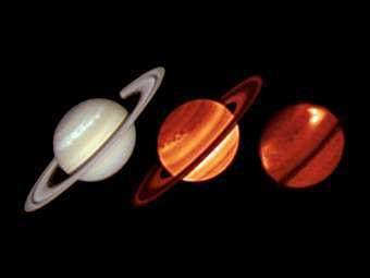Шторм на Сатурне, видимый в оптическом диапазоне длин волн (слева) и в инфракрасном (в центре и справа). Изображение ESO/Univ. of Oxford/T. Barry