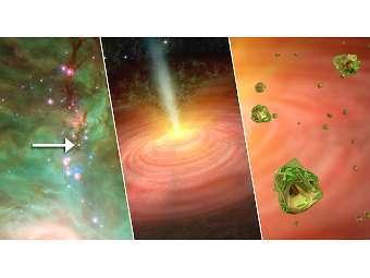 Кристаллы оливина глазами художника. Изображение NASA/JPL-Caltech/University of Toledo