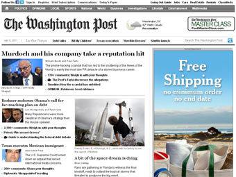 Скриншот главной страницы сайта The Washington Post