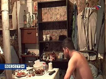 """Общежитие рабочих-мигрантов. Кадр телеканала """"Россия 1"""""""
