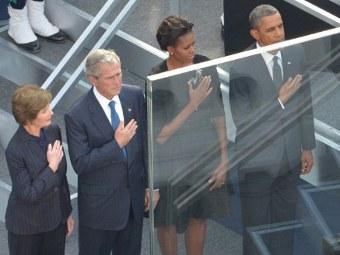 Барак Обама и Джордж Буш с супругами на церемонии памяти 11 сентября. Фото ©AFP