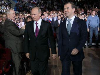 Владимир Путин и Дмитрий Медведев на съезде Единой России 24 сентября. Фото РИА Новости, Екатерина Штукина