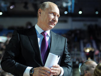 """Владимир Путин на съезде """"Единой России"""". Фото с сайта premier.gov.ru"""