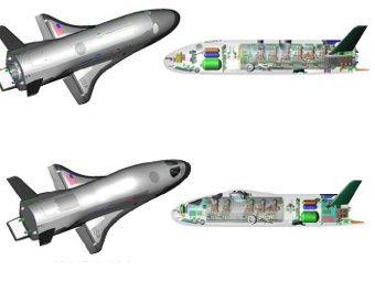Два пилотируемых варианта X-37. Сверху - без иллюминаторов, снизу - с иллюминаторами. Иллюстрация AIAA/Grantz/Boeing