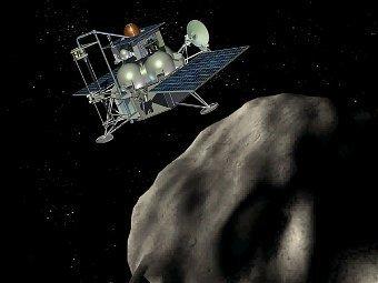 """Компьютерная модель перелетного модуля """"Фобос-Грунта"""" на фоне марсианского спутника. Иллюстрация НПО имени Лавочкина"""