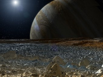 Восход Юпитера на Европе. Иллюстрация NASA/JPL-Caltech
