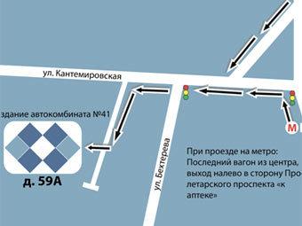Схема расположения отделения банка на Кантемировской улице. Иллюстрация с сайта vpb.su