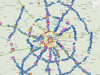 Онлайн-карта автодорог Подмосковья