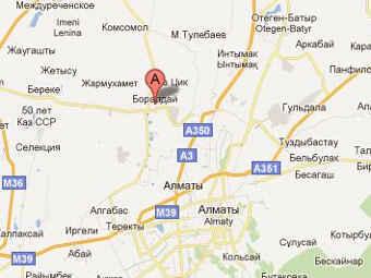 Поселок Боралдай на карте Казахстана. Изоюражение с сайта maps.google.ru