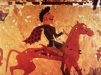 Фрагмент пазырыкского ковра, хранящегося в Эрмитаже. Фото пользователя Aphasic с сайта wikipedia.org