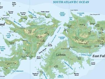Карта Фолклендских островов с сайта wikipedia.org, предоставленная пользователем Sting