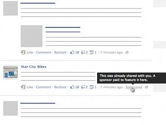Схема размещения рекламных блоков. Изображение с сайта insidefacebook.com