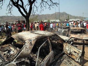 Место одного из взрывов в Нигерии. Фото ©AFP