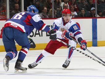 Эпизод матча Россия - Словакия. Фото с официального сайта IIHF