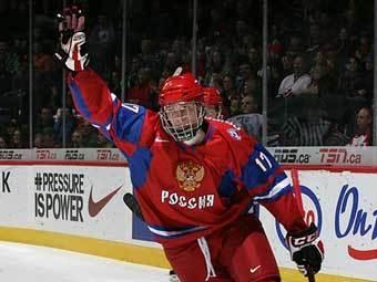 Михаил Григоренко во время матча Россия - Латвия. Фото с официального сайта молодежного чемпионата мира