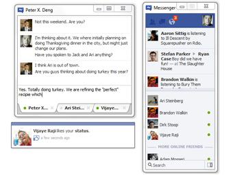 Скриншоты Facebook Messenger с сайта TechCrunch