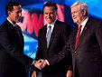 Рик Санторум, Митт Ромни и Ньют Гингрич (слева направо). Фото (c)AFP