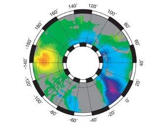 Карта Арктики, полученная учеными. Желтым отмечен купол с пресной водой