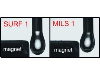 Раствор обычного ПАВ (слева) и магнитного. Иллюстрация авторов исследования