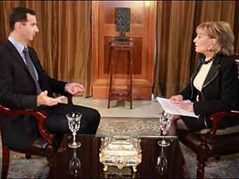 Интервью Башара Асада Барбаре Уолтерс. Кадр телеканала ABC