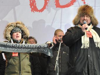 Ольга Романова и Геннадий Гудков на митинге за честные выборы. Фото РИА Новости, Руслан Кривобок