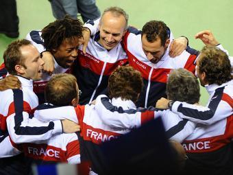 Сборная Франции празднует победу над Канадой. Фото с официального сайта Кубка Дэвиса