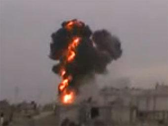 Артобстрел Хомса. Скриншот с сайта YouTube